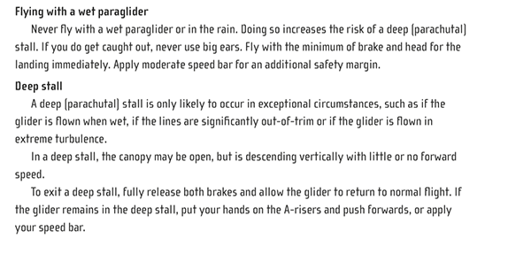 UK Airsports Paragliding in the Rain manual extract
