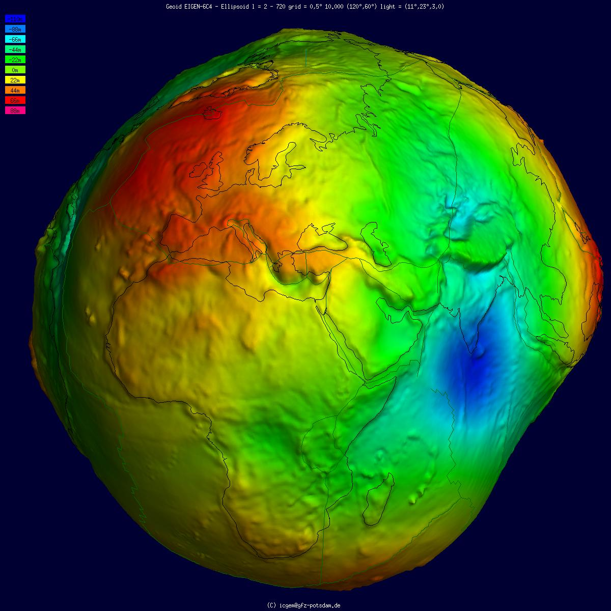 Geoid model of Earth