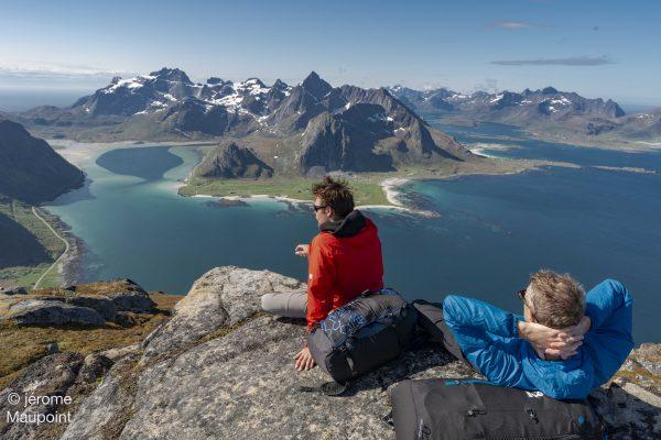 Hike and Fly Hustinden near Flakstad, Lofoten, Norway