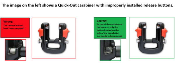 Quick‐Out carabiner safety notice