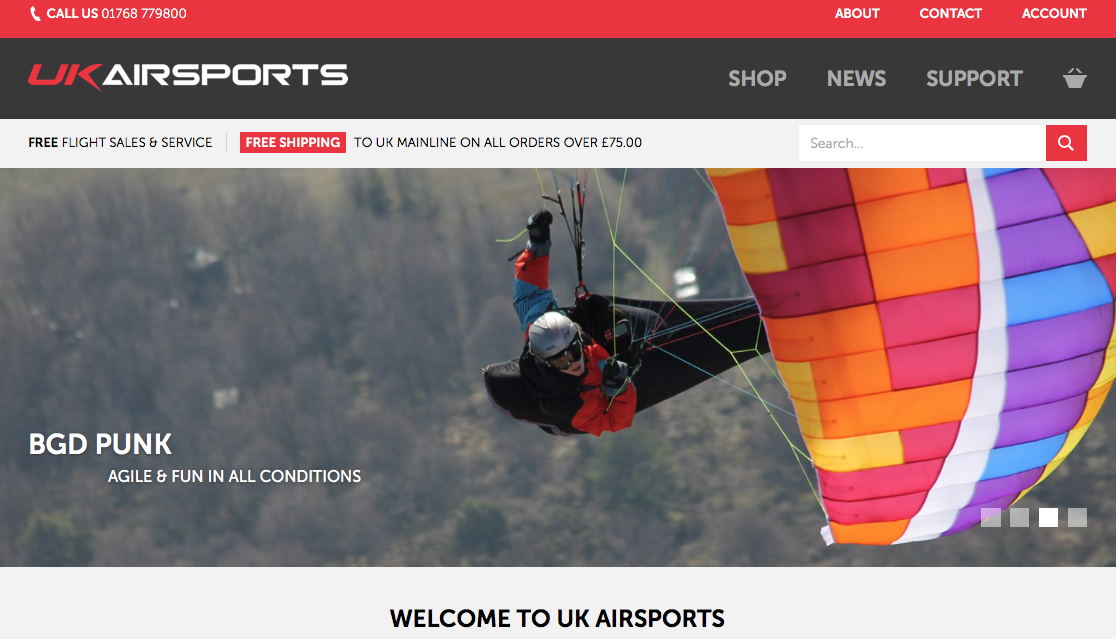 UK Airsports new paragliding website